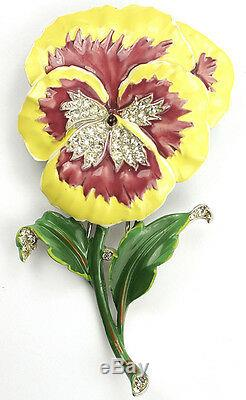 Trifari'Alfred Philippe' Purple and Yellow Pansy Pin Clip