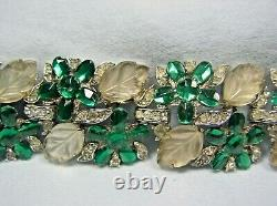 Trifari Alfred Philippe Rs Bracelet Emerald Green/clr Rs & Frosted Artglass
