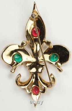 Trifari'Alfred Philippe' Ruby Emerald and Sapphire Fleur de Lys Pin