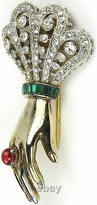 Trifari'Alfred Philippe' Ruby and Emerald Large Bejewelled Hand Pin Clip