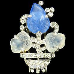 Trifari'Alfred Philippe' Sapphire & Moonstone Fruit Salad Flower Vase Pin Clip
