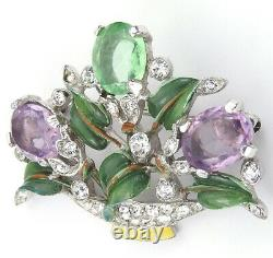 Trifari'Alfred Philippe' Small Pave Enamel and Pastel Stones Flower Basket Pin