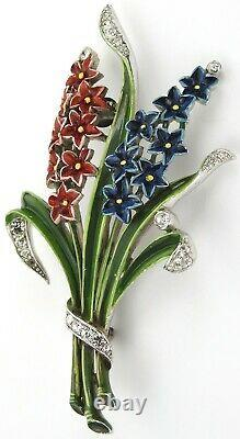 Trifari'Alfred Philippe' Smaller Red and Blue Double Hyacinth Pin