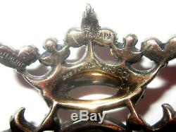 Trifari Alfred Philippe Sterling Heraldic Crown & Crest Pin Brooch Vtg Signed