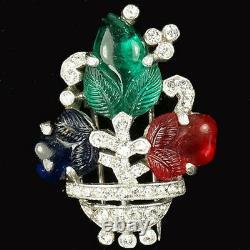 Trifari'Alfred Philippe' Tricolour Fruit Salad Flower Vase Pin Clip