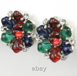 Trifari'Alfred Philippe' Tricolour Fruit Salad Hexagonal Flower Clip Earrings