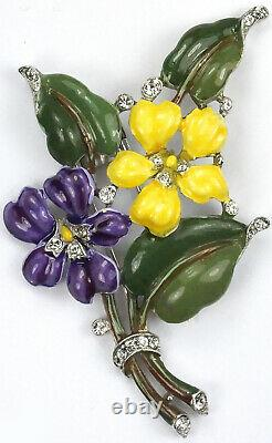 Trifari'Alfred Philippe' Violet and Yellow Pansy Floral Spray Pin Clip