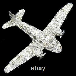 Trifari'Alfred Philippe' WW2 US Patriotic Pave Airplane with Windows Pin