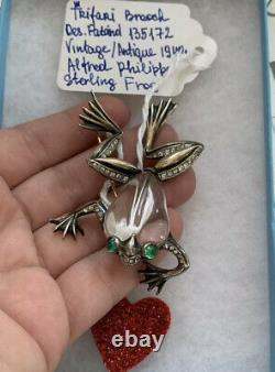 Trifari Jelly Belly Frog brooch Vintage 1943 Alfred Philippe Sterling D. P. 135172