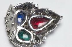 Trifari KTF 1930s Alfred Philippe Tutti Frutti Glass Crystal Leaf Clips Brooch
