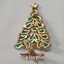 Trifari Modern Mosaics series green Christmas Tree brooch Alfred Philippe 1966