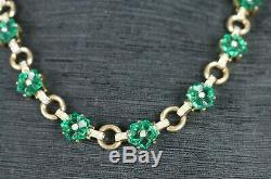 Trifari PAT. PEND Alfred Philippe Moghul Emerald Green Flower Necklace