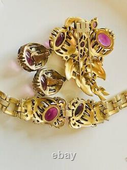 Trifari Rare 1939 purple amethyst Alfred Philippe Parure
