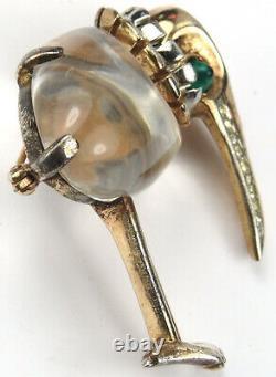 Trifari Sterling'Alfred Philippe' Jelly Belly Kiwi Bird Pin