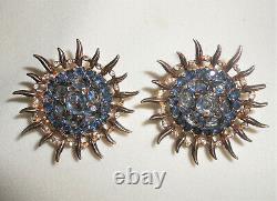Trifari Sterling Alfred Philippe Large Blue Topaz Sunburst Clip Earrings 1945