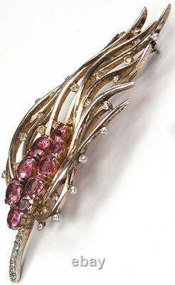 Trifari Sterling'Alfred Philippe' Pink Topaz Feathery Bullrush Pin
