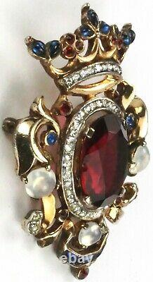 Trifari Sterling'Alfred Philippe' Regal Crown & Ruby Shield Heraldic Crest Pin