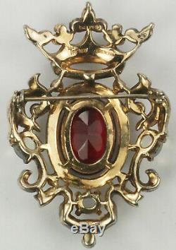 Trifari Sterling'Alfred Philippe' Regal Crown & Ruby Shield Heraldic Crest Pin