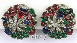 Trifari Sterling'Alfred Philippe' Tricolour Floral Globes Clip Earrings