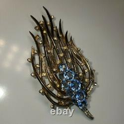 Trifari Sterling Silver'Alfred Philippe' Blue Topaz Feathery Bullrush Pin