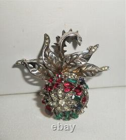 Trifari Sterling Silver Pin Alfred Philippe Floral Globe Jeweled Brooch 1940s