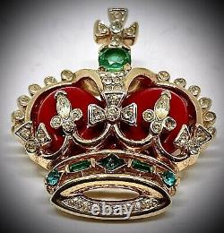 Trifari'alfred Philippecoronation Gems'red Royal Crown Pin