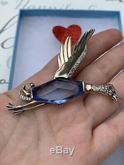 Trifari brooch Bird Duck Antique 1940s Alfred Philippe Sterling Blue Crystal