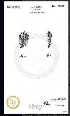 Trifari brooch Flower Antique 1941s Des 125348 Alfred Philippe Dress Clip Rare