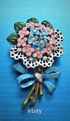 Unique Crown Trifari Alfred Philippe Flower Bouquet Enamel Fur Clip Brooch Tf6