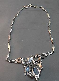 VERY RARE Crown Trifari Alfred Philippe Faux Star Sapphire & Enamel Necklace
