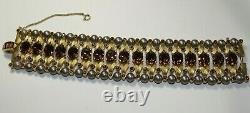 VTG Crown Trifari Alfred Philippe Amber Glass Rhinestones Faux Pearls Bracelet