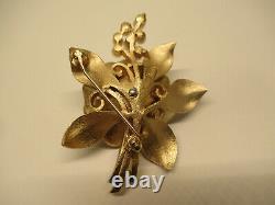 VTG Crown Trifari Alfred Philippe Faux Pearl Rhinestone Enamel Flower Brooch Pin