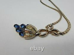VTG Trifari Alfred Philippe Pat Pend Gold Tone Waterfall Blue Sapphire Necklace