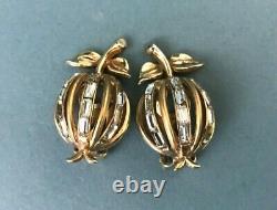 VTG Trifari Baguette Rhineston Forbidden Fruit Necklace Earrings Alfred Philippe