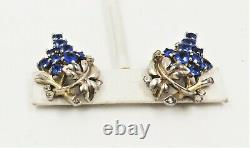 VintageSigned Alfred Philippe for Trifari Rhinestone Grape Cluster Earrings 1942