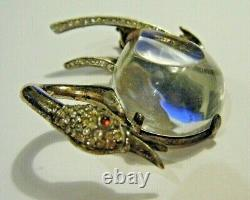 Vintage 1940 Alfred Philippe Trifari Sterling Silver Jelly Belly Lucite Swan Pin
