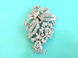 Vintage 1940s Crown TRIFARI Alfred Philippe Crystal Rhinestone Dress Clip/Brooch