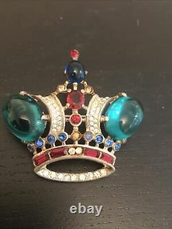 Vintage 1940s Crown Trifari Sterling Silver Brooch Pin by Alfred Philippe