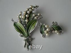 Vintage 1950 Trifari Alfred Philippe Lily of the Valley Brooch & Earrings