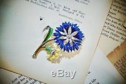 Vintage 40s Trifari Alfred Philippe Enamel Flower Fur Clip Brooch Pin