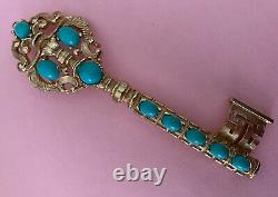 Vintage ALFRED PHILIPPE Crown TRIFARI Faux Turquoise Cabochon KEY Brooch RARE