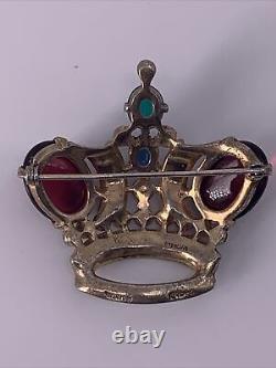 Vintage ALFRED PHILIPPE TRIFARI STERLING Moonstone Royal Coronation Crown Brooch