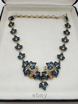 Vintage Alfred Philippe Crown Trifari Molded Blue Fruit Salad Stone Necklace