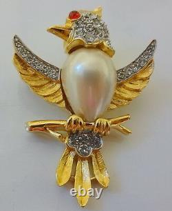 Vintage Alfred Philippe Crown Trifari Rhinestone Cabochon Pearl Bird Pin Brooch