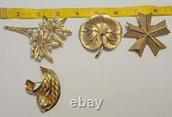 Vintage Alfred Philippe Signed Crown Trifari goldtone large Brooch Lot