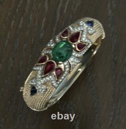 Vintage Alfred Philippe Trifari Moghul Jewels Of India Hinged Bangle Bracelet