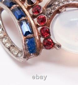 Vintage Alfred Philippe Trifari Moonstone Red White Blue Sterling Crown Brooch