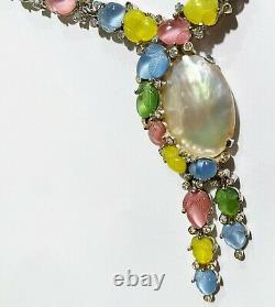 Vintage Alfred Philippe Trifari Necklace Fruit Salad 1960s Pastel Glass Rhodium