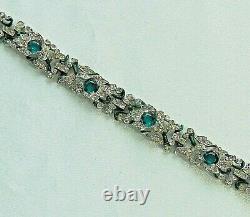 Vintage CROWN TRIFARI Alfred Philippe Green Glass Stone/Rhinestone Bracelet