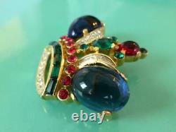 Vintage Crown TRIFARI Alfred Philippe Cabochon & Rhinestone Regal Crown Brooch